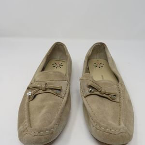 Isaac Mizrahi Live suede moccasins with bow
